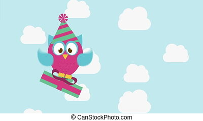 Owl animation - owl with gift, Video animation, HD 1080