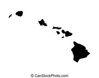 black map of Hawaii