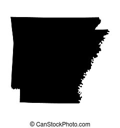 black map of Arkansas