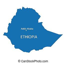 blue map of Ethiopia