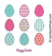 Vector colorful branches set of nine Easter eggs card...