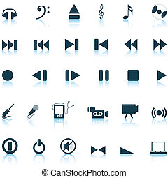 musical icons set - Vector collection of different music...