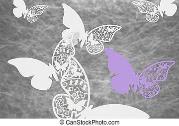 蝴蝶, 卡片, 地方, 婚禮