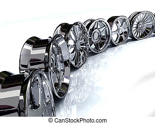 rims - Auto steel alloy car rims over the white background