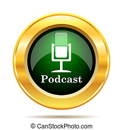 Podcast icon. Internet button on white background.