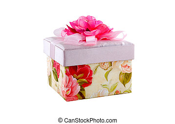 Fancy box - The fancy box of pink color is photographed on a...