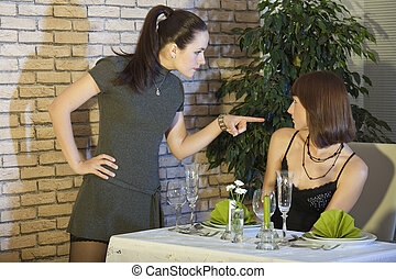 conflict in restaurant - conflict between two female friends...