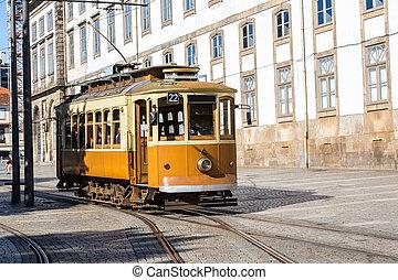 Porto, Portugal - Historical tram in Porto, Portugal in a...