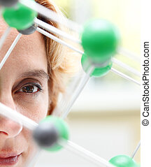 The eye of a researcher - Image of a female researcher eye...