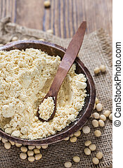 Soy Flour - Portion of Soy Flour (detailed close-up shot)