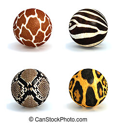Spheres with a structure of skins of animals - Four spheres...