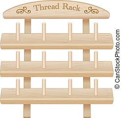 Wood Rack for sewing thread spools