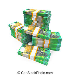 Stacks of 100 Australian Dollar Banknotes isolated on white...