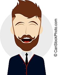 hilarious laughing cartoon guy - vector art illustration