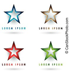 star shaped logos - Set of modern logos with star shape and...