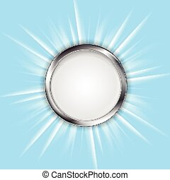Metal circle and shiny sun. Vector design