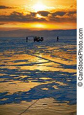 Winter sunset over Baikal lake - Sunset over siberian Baikal...