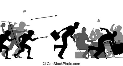 Hostile corporate takeover - Editable vector silhouettes of...
