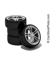 new wheels with steel rim - isolated 3d render on white
