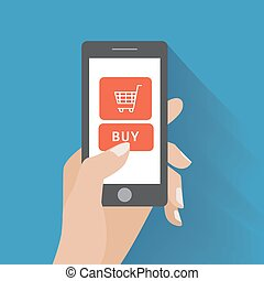 Hand holding smartphone with buy button - Hand holing smart...