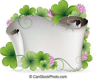 St Patricks Day invitation - Ancient scroll and clover on a...