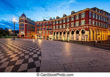 Place Massena in Nice at Dawn, France