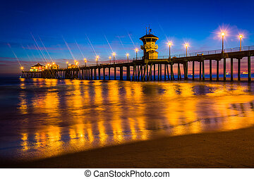 The pier at night, in Huntington Beach, California.