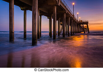 The pier at twilight, in Huntington Beach, California.