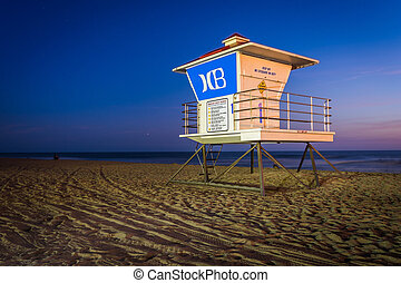 Lifeguard tower at night, in Huntington Beach, California.