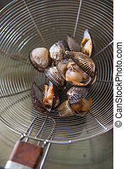 grate fresh boiled cockles, cook
