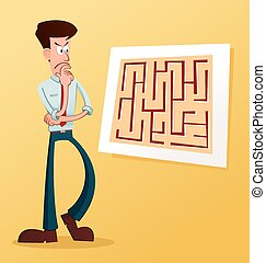 solve the maze - young businessman solve the problem