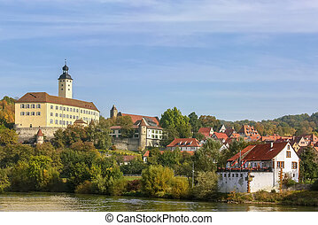 The castle on the river Neckar,Germany - The castle in the...