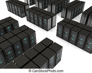 3d illustration of server farm - black server racks stand in...