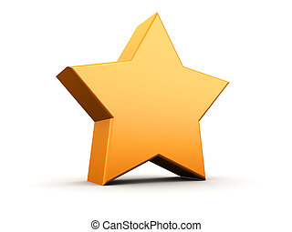 star - 3d illustration of orange star, over white background