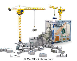 money construction - abstract 3d illustration of cranes...