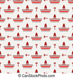 sombrero and maracas pattern - Seamless pattern with...