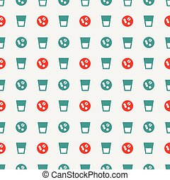 glass of water and pills pattern - Seamless pattern with...