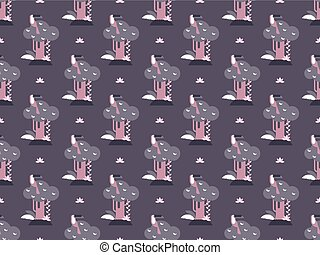 trees and toucan pattern - Seamless pattern with trees and...