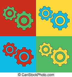 Pop art settings simbol icons Vector illustration