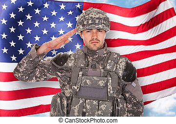 Soldier Saluting - Portrait Of Soldier Saluting In Front Of...
