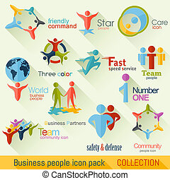 Flat Business People Logo Collection. Corporate Identity