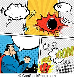Vector Retro Comic Book Speech Bubbles Illustration Mock-up...