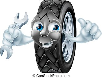Tyre mascot character with spanner - Tyre mascot mechanic...