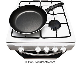 frying pan at the gas stove - frying pan at the white gas...