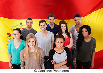 Spanish Classes - Happy Multi-ethnic Group Of People...