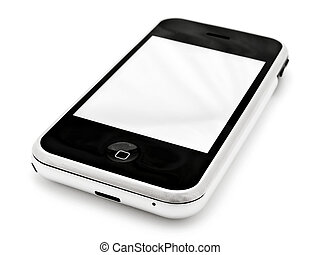 mobile phone with blank screen over white