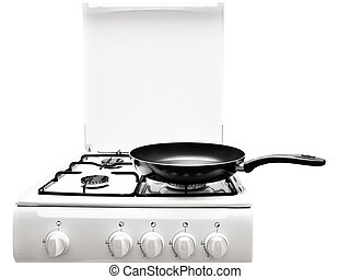 white gas-stove - frying pan at the white gas stove over the...
