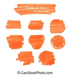 marker pen spots - Orange marker pen spots and lines for...