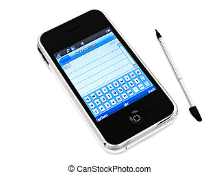 mobile phone and stylus - mobile phone with open message...