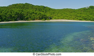 Deserted sandy beaches on the island Mljet, Dubrovnik...